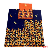 Bazin Riche Getzner African French Embroidery Cotton Lace Fabric Royal Blue/Orange High Quality Wedding Fabric Lace HA396