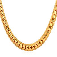 New 18K Stamp Classical Men S High Quality Real Gold Plated Figaro Necklace Chain 6MM 55CM