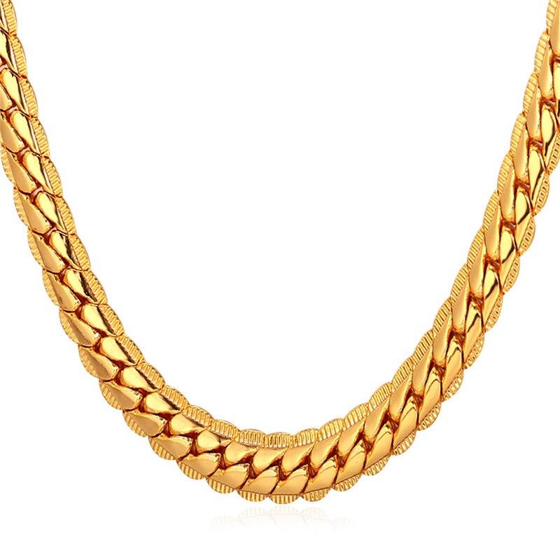 fa4ac500521a Kpop oro plata color hombres cadena Figaro Collar para hombres joyería 6mm  ancho cadena hombres joyería masculina regalo n616