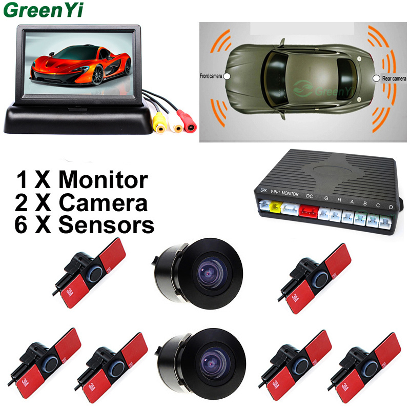 13mm capteurs de stationnement plats recul Radar son avec caméra de vue avant et caméra de vue arrière 4.3 rétroviseur voiture moniteur