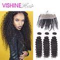 Vishine Peruvian Virgin Hair With lace frontal Closure 100% Unprocessed 3/4pcs 7A Peruvian deep Wave With lace frontal Closure