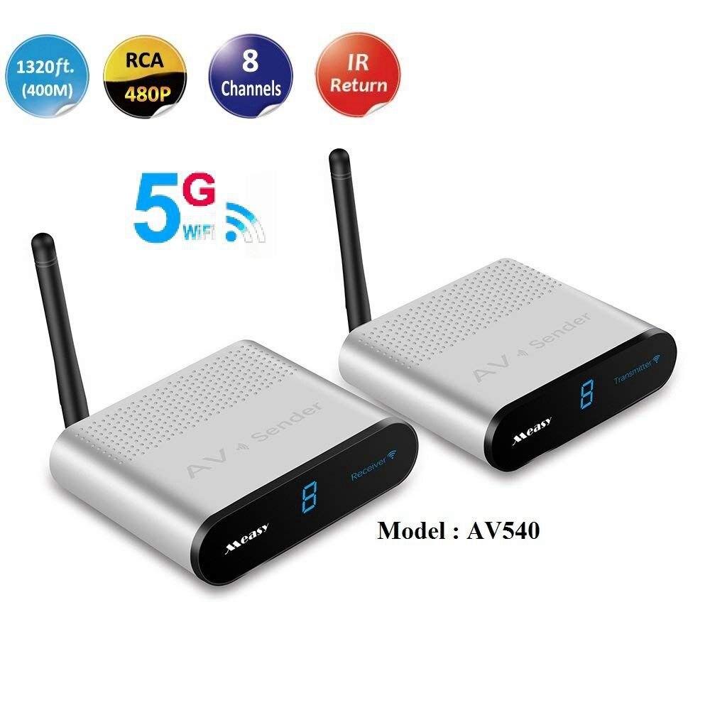 MEASY AV540 Wireless AV Transmitter System Full HD 5.8G Radio AV HD TV + IR Extender, 400M / 1320 Feet (EU Plug)