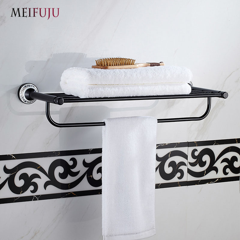 New Arrival Blue and white porcelain towel rack ceramic bathroom accessories set fashion bath towel oxidation aluminium rack