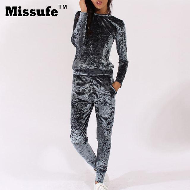 Missufe 2016 otoño invierno mamelucos mujeres jumpsuit 2 unidades set chándal de terciopelo de manga larga moda casual mono con bolsillos