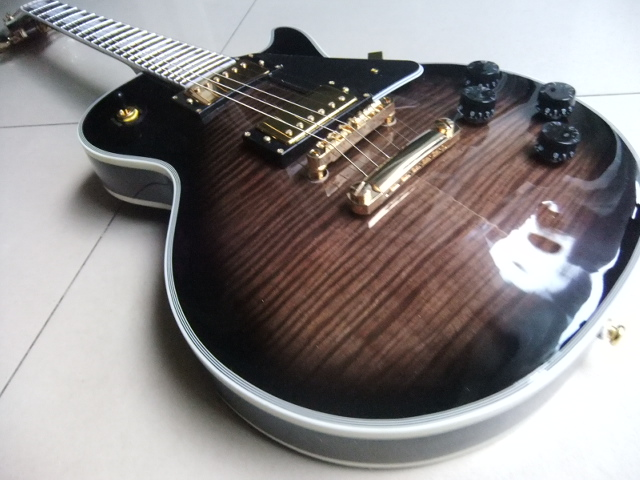 Wholesale New LP Custom Electric Guitar, Mahogany guitar, Flamed Maple top guitar in Maroon Burst 110408 electric guitar wholesale new gib standard slash guitar oem lp guitar with maple flame top guitar in china
