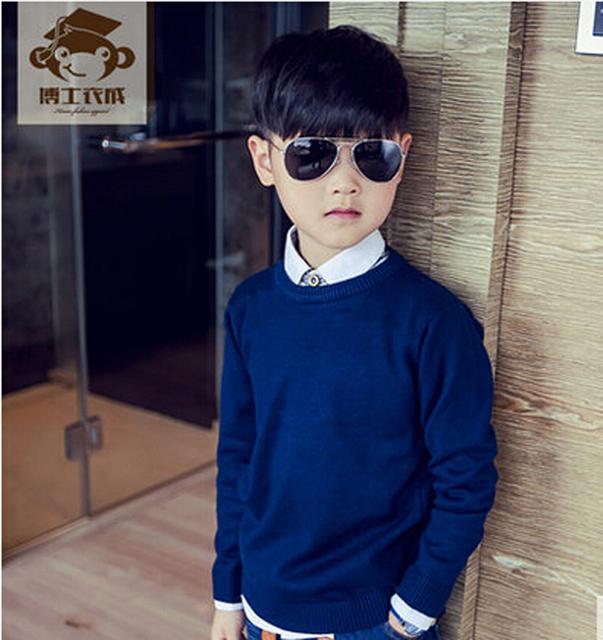 Envío Gratis 2016 Nuevo Otoño Invierno Bebé CloInfant Moda Niños Boy Sólido Suéter Del Bebé Del Suéter Del O-cuello Suéteres de Vestir Exteriores