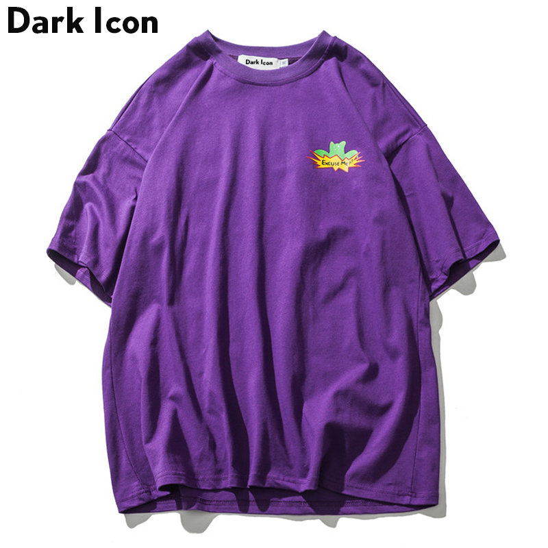 DARK ICON Printed O-neck Oversized Tee Shirts Men 2019 Summer Streetwear Men's T-shirts Short Sleeved Cotton Tshirts Purple
