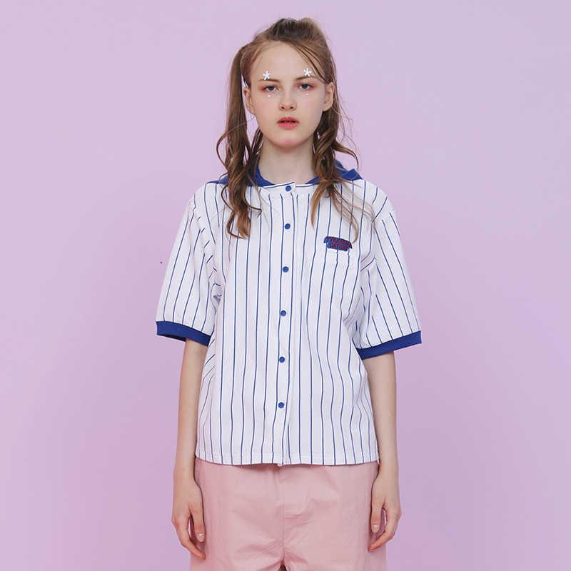 2d3ac5069cf Для женщин с капюшоном блузка короткий рукав полоса печати милый кот Вышивка  2018 новые летние Femme