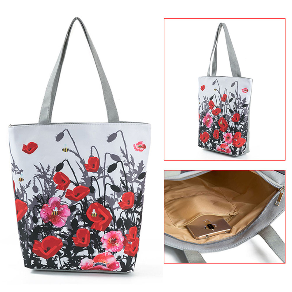 Floral Printed Tote Handbag Female Large Capacity Canvas Shoulder Bag Summer Beach Bag Best Sale-WT