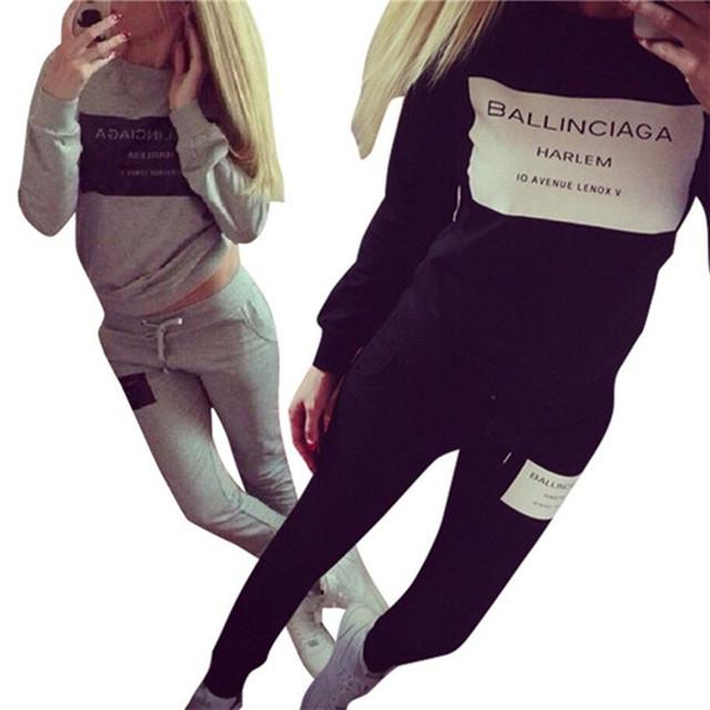 Marca Treino Mulheres Marque Femme Survetement Sportswear Terno Camisola Com Capuz + Calça 2 pc Set Plus Size S-XL D0993