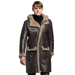 Image 2 - À capuche épaissir longue peau de mouton manteau hommes hiver chaud mouton en cuir veste en cuir véritable marron à capuche véritable fourrure vêtements