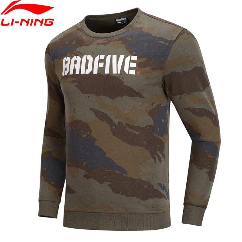 Li Ning Men Basketball BAD FIVE Sweater Regular Fit 88 Cotton 12 Polyester LiNing Camo Sports