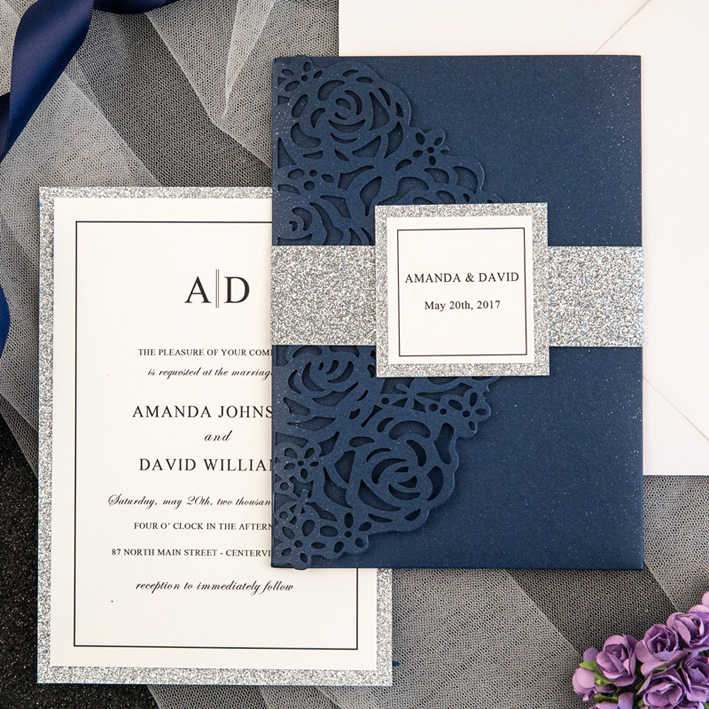High Quality Wedding Invitations Cards 120*180mm Pearly Paper Invitation 30+ Colors For Your Choice 100% Customized Invitation