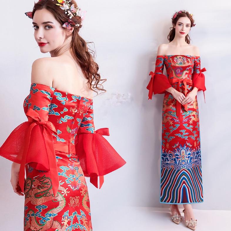 Винтаж Для женщин невесты Cheongsam ретро Восточный Ангел Туалетная Красный невесты платье Qipao свадебный тост Костюмы великолепной вышивкой