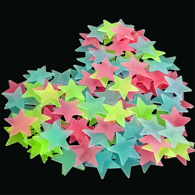 50/100pcs/bag 3cm Glow in the Dark Toys Luminous Star Stickers Bedroom Sofa Fluorescent Painting Toy PVC Stickers for Kids Rooms