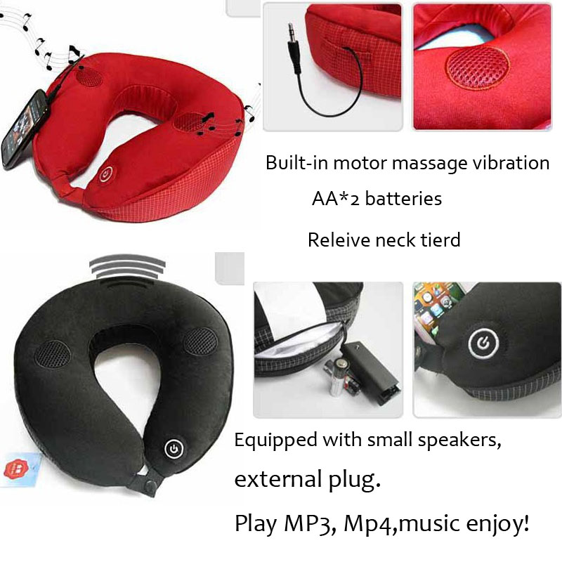 MP3 MP4 Electric Massager Cervical Massage Pillow U shape Automatic Inflatable Pillows Soft Cushion Vibrating Massager Neck Prot