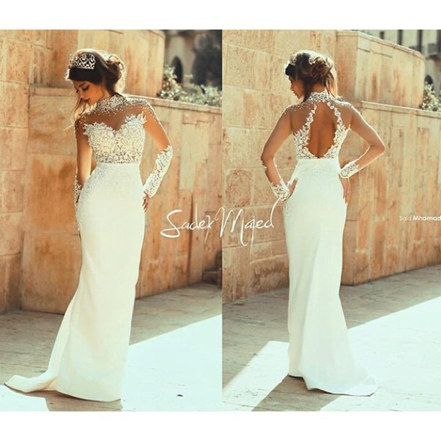 Elegant Wedding Gowns Floor Length Mermaid Cut Out Back Long Sleeve White 2017 Vestidos