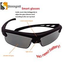 Smogls polarizado inteligente photochromic lcd óculos de sol uva uvb filtro solar ajustar transmitância dimmer inteligente óculos de sol