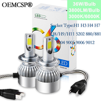 Lamp H4 H7 Led Headlights 12V Led Bulb A6 C6 H1 H3 Headlamp Light H8 H11