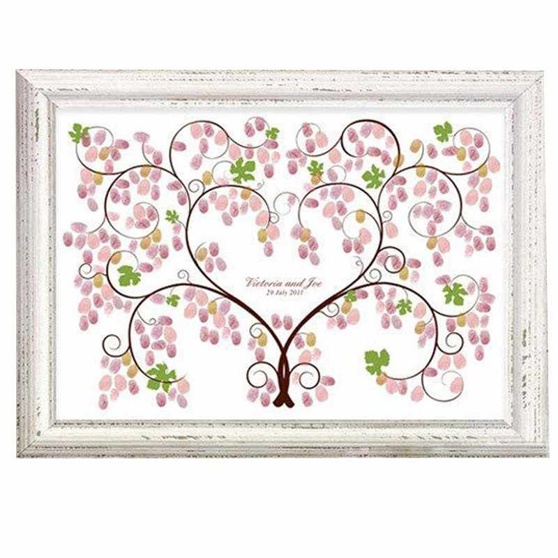 Creative Wedding Fingerprint Tree Green Vines Balloon Signature Guest Book Picture for Wedding Party Graduation Painting