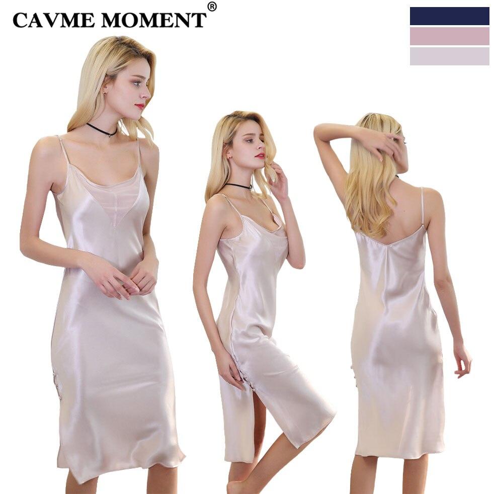 CAVME 2019 chemise de nuit longue en soie de luxe pour femmes Sexy chemise de nuit à bretelles Spaghetti couleur unie col en v grande taille chemise de nuit