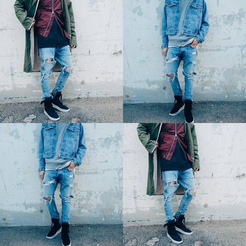 b86999ba2fca 2017 Jeans Men Ripped Skinny Distressed Destroyed Slim Holes Biker Light  Blue Jeans Denim Pants summer autumn jeans hombremen -in Jeans from Men's  Clothing ...