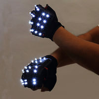 LED Glowing Gloves Rave Light Flashing Finger Lighting Glow Mittens Magic Luminous Gloves Party Supplies Halloween