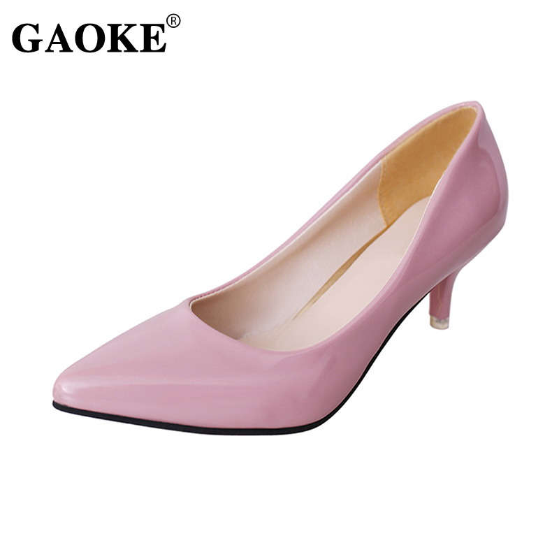 Pink Low Heel Wedding Shoes: Autumn New Women Low Heel Shoes Pointed Toe Women Shallow