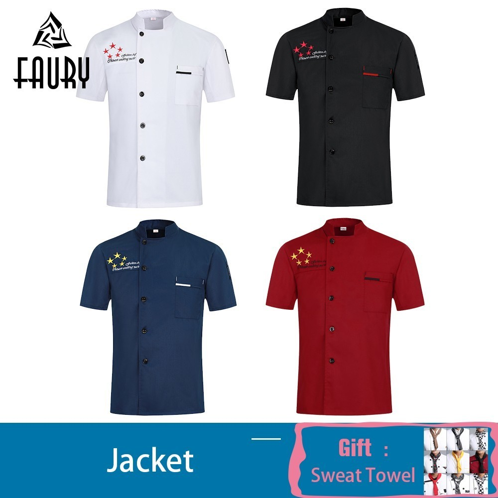 Profession Chef Jacket Summer Sleeve Kitchen Work Clothes Canteen Barber Restaurant Hotel Sushi Waiter Uniform Free Scarf Gift