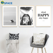 7-Space Frenzy Party Black White Wall Art Canvas Painting Nordic Print Poster Living Room Study Decor Pictures No Frame