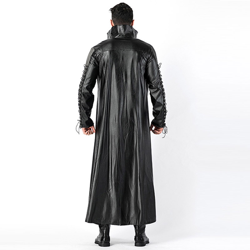 2018 New Adult Mens Halloween Vampire Costumes Faux Leather Outfits Fancy Party Devil Cosplay Dresses With Long Coat and Pants (3)