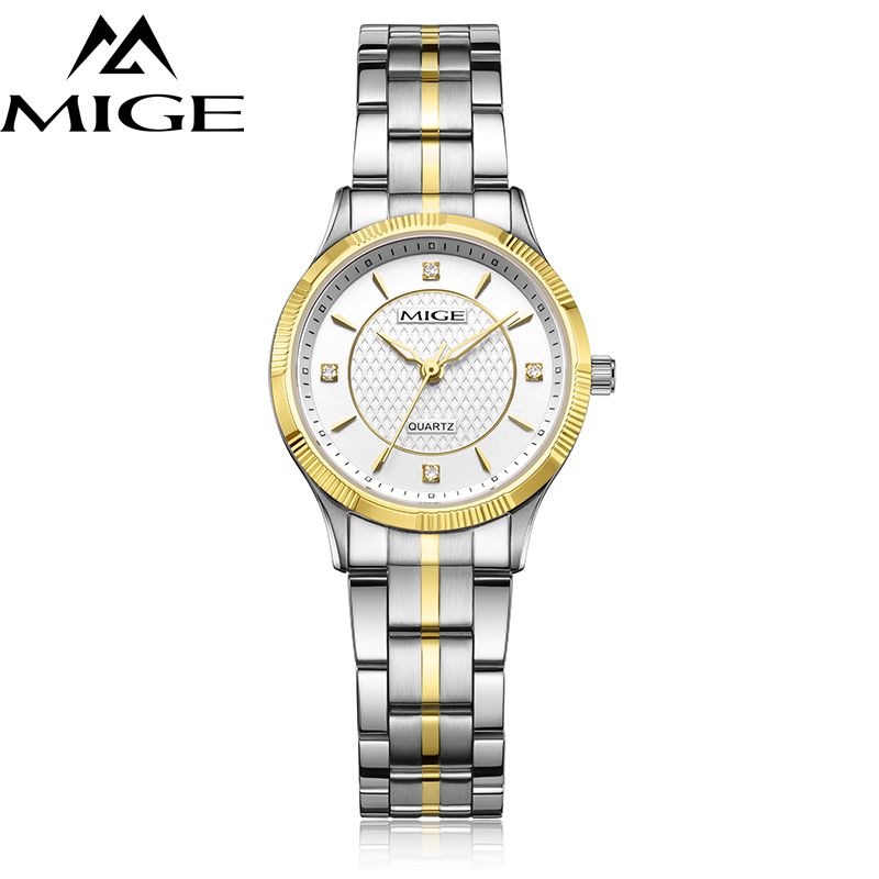 Mige 2017 Top Brand Luxury Fashion Casual Lover Ladies Watches Gold Case White Dial Female Clock Waterproof Quartz Women Watch