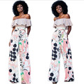 Fashion Suits Slash Neck Sex Slim Shirt + Long Flower Wide Leg Pants Two Piece Set For Women Summer Printed Costumes For Women