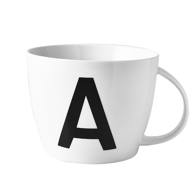 newest brief az letter coffee mugs with spoon ceramic cups with lid milk mug