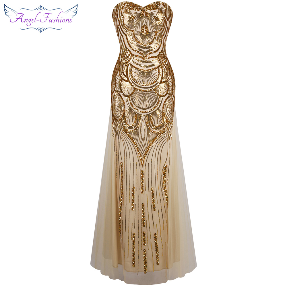 Angel fashions 1920S Sequined Gatsby Party Gown Backless Split Long ...