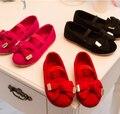 Мода бантом принцесса девочек дети сандалии высокое качество pu детская обувь девочек квартиры принцесса сандалии