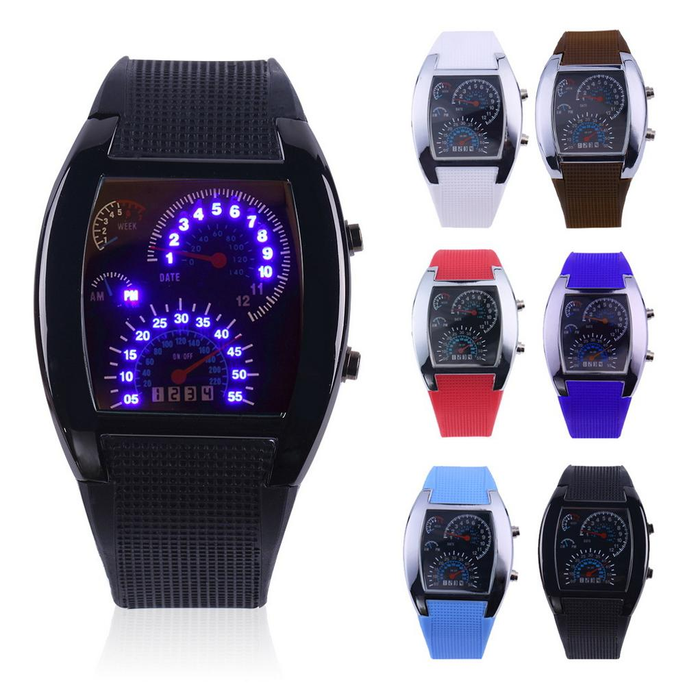 2018 Pop Fashion Sports Aviation LED Electronic Watches Fan-shaped racing instruments Creative Watches Male Wholesale(China)