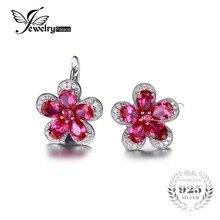 Jewelrypalace Flor 5.5ct Creaed Rojo Rubí Pendiente de Clip En Los Pendientes de Plata de Ley 925 para Las Mujeres de Diseño de Moda de Joyería Fina