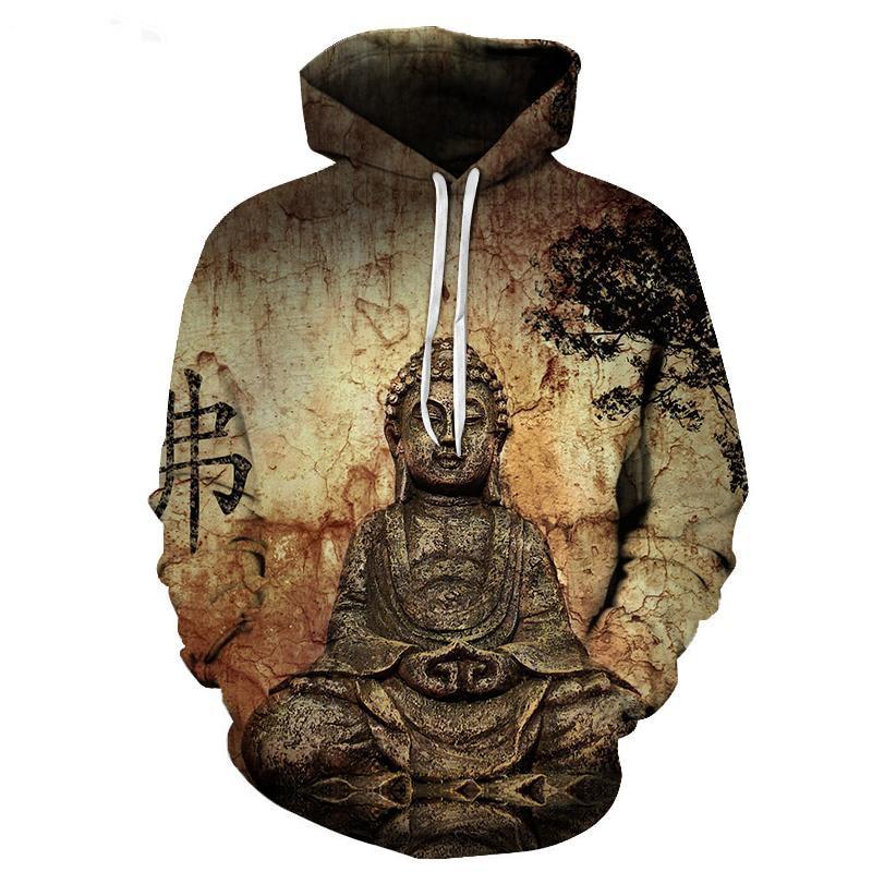2017 neue mode Kühle sweatshirt Hoodies Männer frauen 3D print Buddha statue T heiße Art Street langarm kleidung