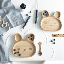 Wood Baby Food Plate Prato Baby Feeding Dishes Kids Eating F