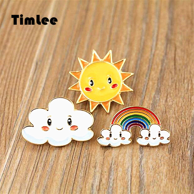 Timlee X358 Cartoon Sweet Sun Rainbow Cloud Metal Brooch Pins Wholesale