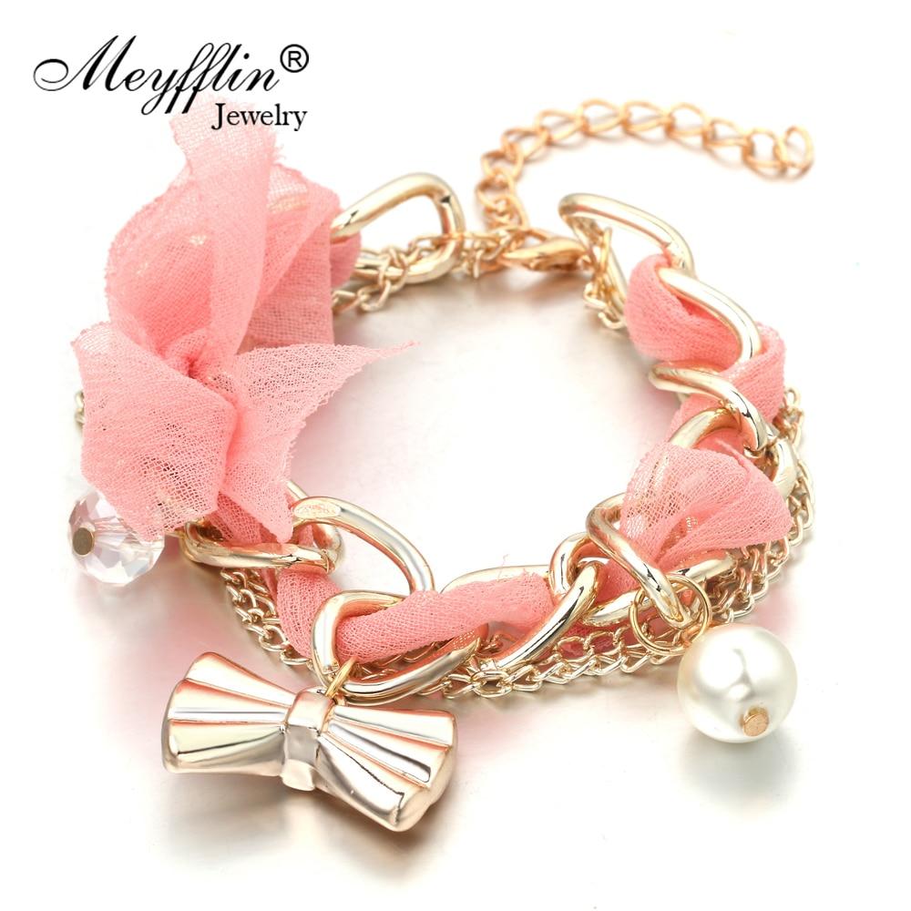 Armband för kvinnor Pulserer Fashion Gold Bowknot Charm Armband & Armband Simulerat Pearl Armband Femme Pulseira Masculina