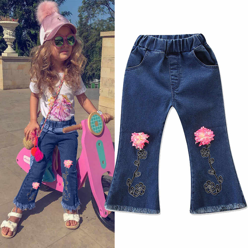 35864c19e girls jeans kids clothes trousers Children Toddler Kids Girls Floral Flare Pants  Denim Jeans Kids Trousers