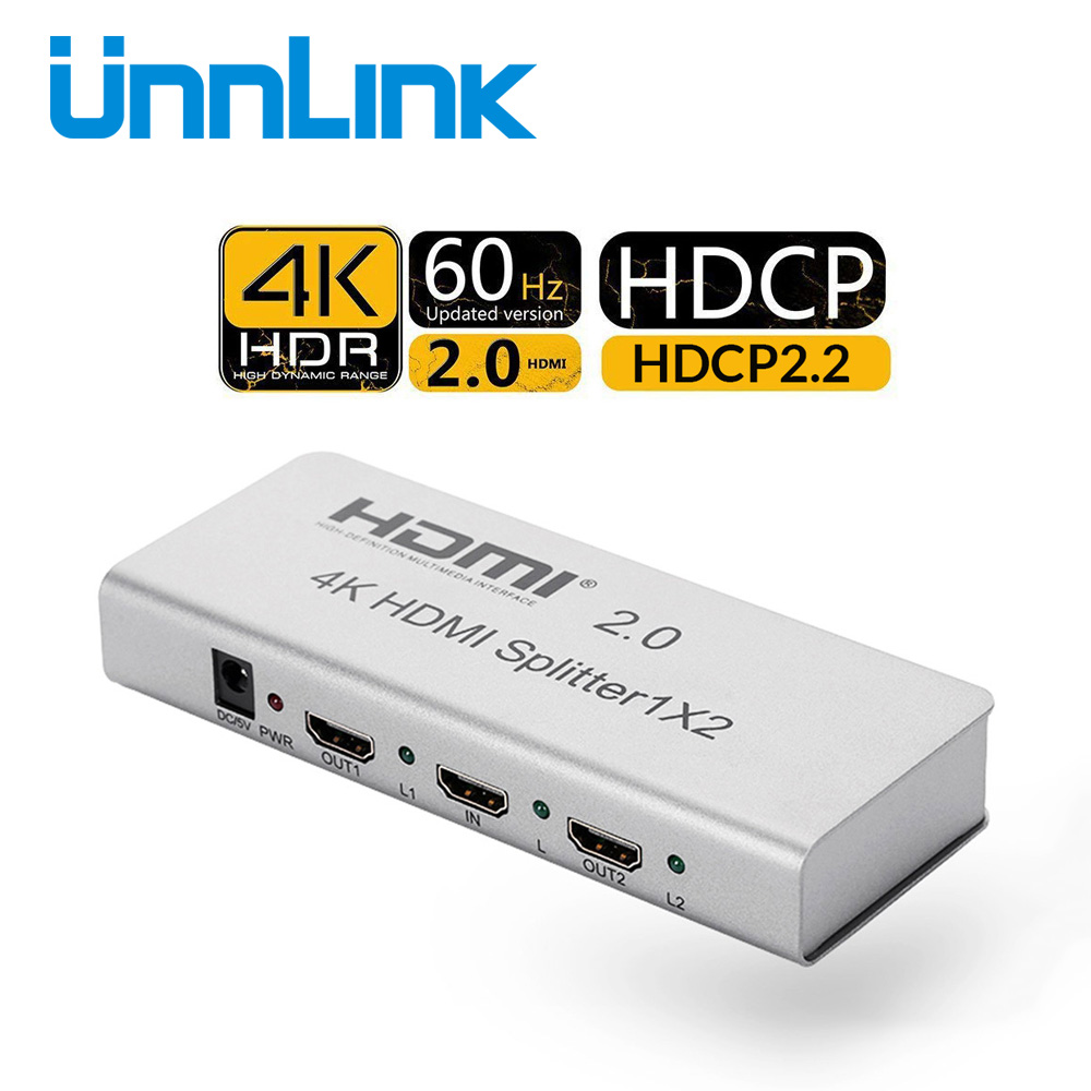 Unnlink HDMI Splitter 1X2 HDMI2.0 UHD 4K@60H HDCP 2.2 HDR 1 In 2 Out for computer hdtv mi box ps4pro slim xbox one x/s projector unnlink hdmi splitter 1x8 hdmi v1 4 1 8 uhd 4k 30hz 1 in 8 out hdmi splitters for smart led tv mi box projector ps4 monitor