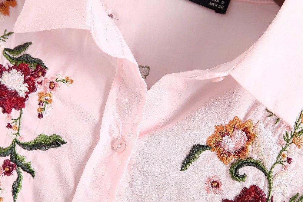 Rosado Sueltas Rosa Mujer Bordado Actumn Para Bawting Oyk6085 Za Blusas Mujeres Manga Foral Blusa Larga Camisa XpIPZq