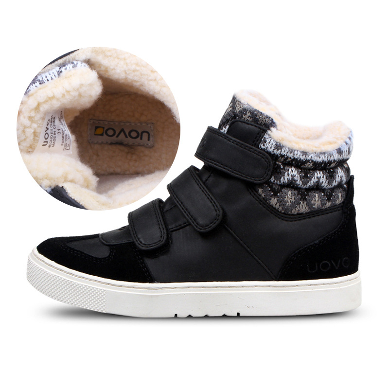 где купить Size 30-39 Uovo Kids Boots Girls Winter Ankle Boots Fashion Kids Shoes For Boys Warm Plush Totem Snow Boots Children по лучшей цене
