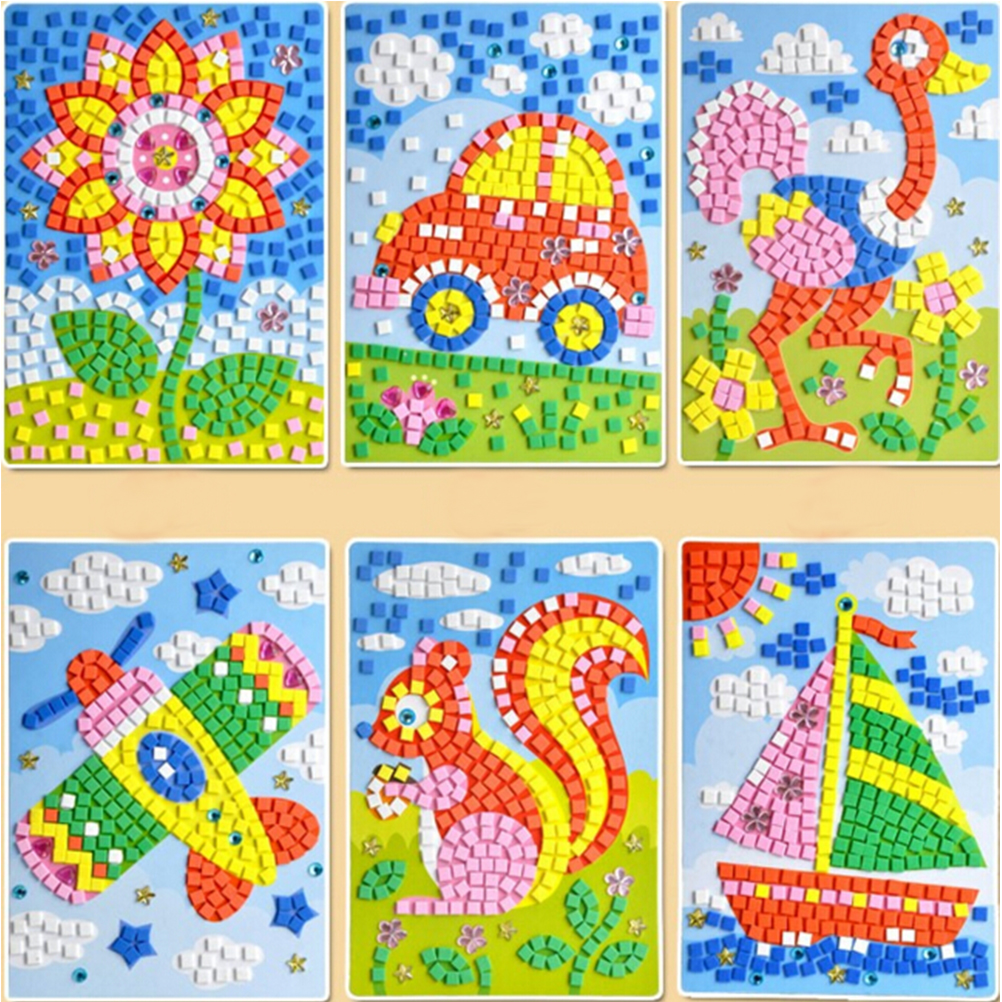 New arrival 12 styles 3d mosaics creative sticker game for Art and craft games