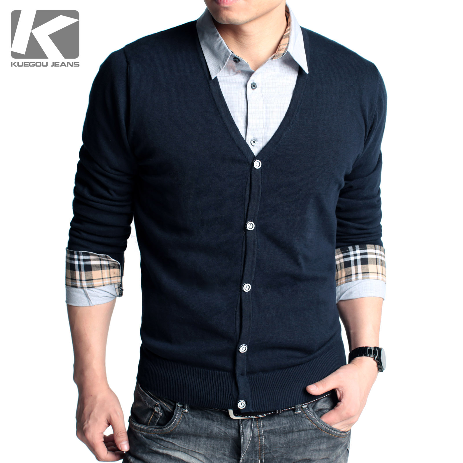 Hot Selling Men's Sweater Fashion Cardigan 100% Cotton Slim Solid ...