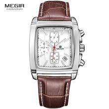 Megir mode casual militaire chronographe montre à quartz hommes de luxe étanche analogique bracelet en cuir montre homme livraison gratuite 2028