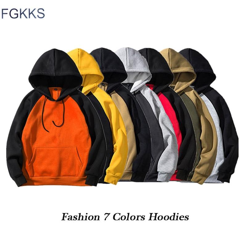 FGKKS Fashion Brand Men Hoodies Top 2020 Autumn Male Splice Pullover Hoodies Mens Sweatshirts Hoodie Clothing EU Size